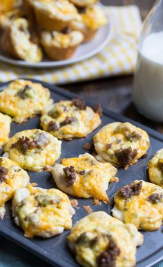 Mini Sausage Biscuit Cups made from refrigerated biscuits.