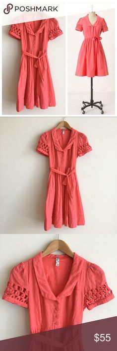 Maeve Coral Shirtdress Dotted Cotton 100% cotton. Collared with button front. Tie waist. Dotted fabric. Crochet detailed short sleeves. Pockets. Lined. Zipper on side. Light wear but in overall excellent condition. Anthropologie Dresses