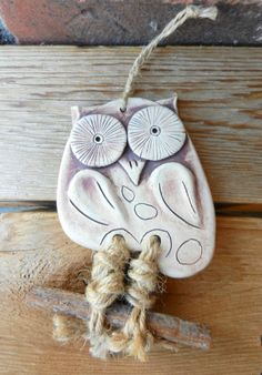 clay owl ceramic owl pottery owl owl wall hanging by potteryhearts, $20.00