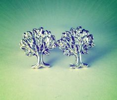 Spring Time Pair of Men's Silver Metal Forest Oak by Lynx2Cuffs, $17.99