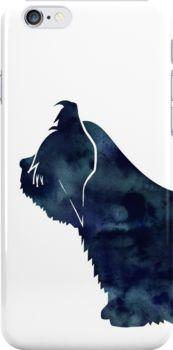 Skye Terrier Dog Black Watercolor Silhouette by TriPodDogDesign
