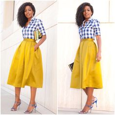 Gingham Button Down x Pleated Midi. Link in bio for outfit deets...