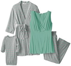 Everly Grey Women's Maternity Roxanne 5-Piece Nursing Pajama Set with Robe and Tank, Chantilly, X-Small