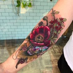 Elaborate Chiaroscuro Tattoos by Makkala Rose Burst With Ripe Fruit and Blossoming Flowers Nikko Hurtado, Rose Tattoos, Skull Tattoos, Flower Tattoos, Body Art Tattoos, Arm Tattoos, Esther Garcia, Tattoos Geometric, Tribal Tattoos For Men