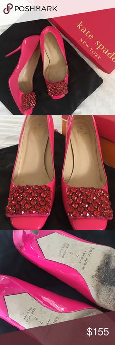 Kate Spade Happy Heels, 7 Kate Spade Happy Heels, in a bright pink patent leather color. Pink Crystal front. No scuffs. Worn for a few hours at an event. Dust jacket included. Box included but it has the label for a different size (?? No idea why!) let me know if you have further questions. kate spade Shoes Heels