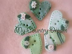 Handmade polymer clay buttons Green Heart set of 5 by dragosafira, $5.00