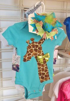 Ruffle butt giraffe onesie baby girl clothes with matching over the top hair bow. Boutique kids clothes