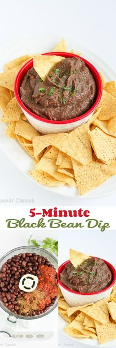 5-Minute Black Bean Dip...Only 80 calories and 2 Weight Watchers points per…