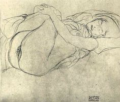 Gustav Klimt - Study for Danae (1907)