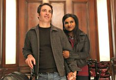 """When """"The Mindy Project"""" returns on Tuesday (April Mindy (Mindy Kaling) and Danny (Chris Messina) will be together -- both literally and figuratively. Kaling and Ike Barinholtz talk to about the couple's future and the show's new episodes. The Mindy Project, Project S, Chris Messina, Tv Couples, Cutest Couples, Mindy Kaling, Guys Be Like, Season 3, Role Models"""