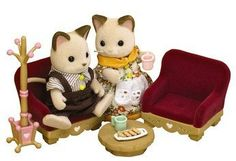 Sylvanian Families Treehouse Living Room Furniture by Sylvanian Families. $19.99. A cosy living room set designed for Old Oak Hollow Tree house play set, that can also be used in any Sylvanian property. Includes a pair of cosy armchairs, hat stand, coffee table and tray of coffee and snacks.