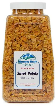 Harmony House Foods Dried Sweet Potatoes Diced 16 Ounce Quart Size Jar * Click on the image for additional details.