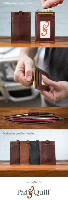 This pull tab is an amazing idea. The Midtown leather wallet is a slim wallet that features a hassle free way to get to your stuff, with a pull tab. It also makes a great front pocket wallet for any guy or girl.  http://www.padandquill.com/leather-wallets/midtown-leather-wallet.html
