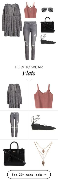 """Salmon & Gray"" by leengardini on Polyvore featuring H&M, Office and Yves Saint Laurent"