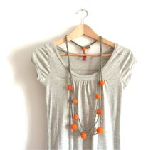 Orange+felt+and+wool+necklace++yarn+necklace++wool+by+IndieLab,+€22.00