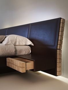 LEATHER BED WITH UPHOLSTERED HEADBOARD EKO COLLECTION BY TURRINIBY | DESIGN ERWAN PERON