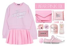 """I wear pink for the fighters"" by via-m ❤ liked on Polyvore featuring CASSETTE, By Terry, Eos, Converse, Marc by Marc Jacobs, Tony Moly, Grace Lee Designs, The Body Shop and Boohoo"