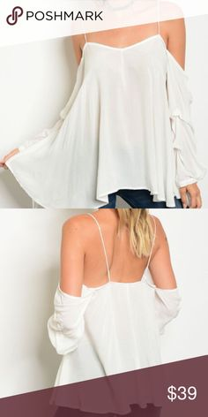 """•JUST IN• White Cold Shoulder Blouse Gorgeous white cold shoulder blouse with spaghetti straps and ruffled 3/4 sleeves. Feels super nice and airy. Fabric is slightly see through. Small: L: 30"""" B: 36"""" W: 44"""" Fast shipping ✔️ No trades ❌ Tops Blouses"""