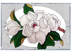 20x14 Stained Art Glass MAGNOLIA Floral Window Suncatcher