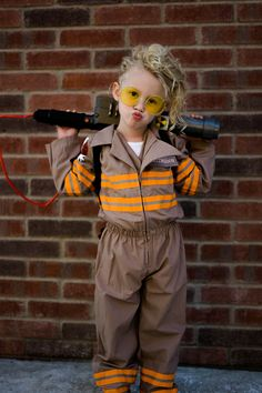 I had so much fun putting this together but she really enjoyed dressing up as her favorite character! Diy Girls Costumes, Fancy Costumes, Toddler Halloween Costumes, Halloween Cosplay, Costume Ideas, Ghost Busters Costume Kids, Ghostbusters Birthday Party, Baby First Halloween, Children Costumes