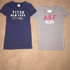 Abercrombie and Fitch T Shirt Bundle Abercrombie and Fitch T Shirt Bundle. Both T Shirts are in great condition, no sign of wear. The dark blue T is a size SMALL and the grey T is a size XSMALL Abercrombie & Fitch Tops Tees - Short Sleeve