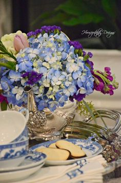 Flowers and Silver ~ A Book Cover Inspiration Napkin Folding, Flower Centerpieces, Tabletop, Tablescapes, Layering, Napkins, Shabby Chic, Blue And White, Table Decorations