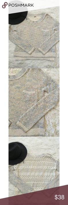 ✨ Free People Pullover✨ Soft in a varied pastel color scheme, this knit pullover by Free People is lightweight and feminine. Floral lace cutout in the back making it fully sheer in the back. VGUC small pull in front shown in photo 4. Size XS Free People Sweaters