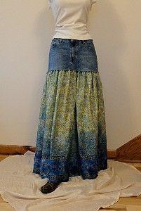 Reworked Jeans Skirt - Denim and Paisley Border Print Cotton | Shop apparel, fashion | Kaboodle
