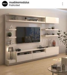 Tv Wall Design, Tv Cabinet Design, Tv Unit Design, Entertainment Wall, Tv Furnit… - Home Decoraiton Living Room Wall Units, Living Room Tv Unit Designs, Home Living Room, Living Room Decor, Tv Wall Unit Designs, Wall Cabinets Living Room, Bedroom Tv Unit Design, Tv Unit Bedroom, Modern Tv Unit Designs