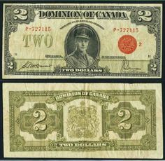 Description: A beautiful very fine banknote from the Dominion of Canada. The note is graded by PCGS as Very Fine 20 and comes in a plastic slab. This is the two dollars banknote dated June 1923 a