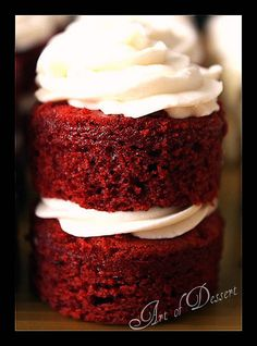 red velvet. i usually use bakerella's recipe, but this one uses butter instead of oil and yogurt instead of milk. intrigued