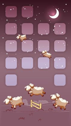↑↑TAP AND GET THE FREE APP! Shelves Funny Sheeps Art Illustration Fence Night Sleep Stars Moon Kids Icons Unicolor HD iPhone 6 plus Wallpaper