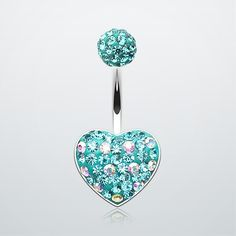 Adorable Polka Dot Tiffany Inspired Heart Belly Button Ring #piercing #navelring #bbring