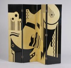1920's French Art Deco Folding Lacquer Screen
