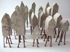 Concrete mini house model on little copper nail feet by Sharon Pazner Legs Concrete Crafts, Concrete Art, Concrete Houses, Concrete Projects, Clay Houses, Ceramic Houses, Art Houses, Architecture Sketchbook, Found Art