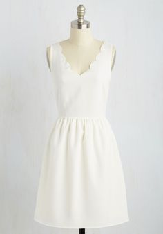 Reliably Blithe Dress in Alabaster. Your friends always count on your cheerful nature, and cant help but smile along with you when you sport this creamy white dress! #white #modcloth