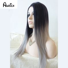 Silk Straight Ombre Silver Grey Synthetic Lace Front Wig Glueless Two Tone Natural Black/Grey Heat Resistant Hair Wigs For Women - http://jadeshair.com/silk-straight-ombre-silver-grey-synthetic-lace-front-wig-glueless-two-tone-natural-blackgrey-heat-resistant-hair-wigs-for-women/  Wigs