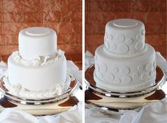 Our wedding cake (on the right) - A touch of whimsy