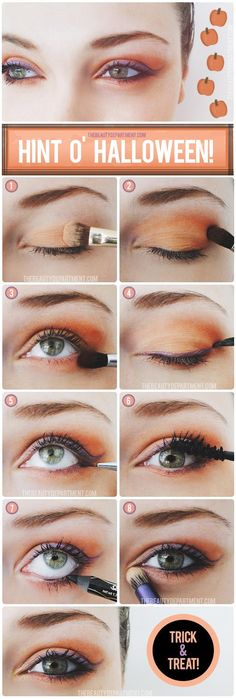 TRICK OR TREAT. halloween make up. For those of you who can't dress up for work or class! Yeux Halloween, Maquillage Halloween, Halloween Make Up, Simple Halloween Makeup, Halloween Eyeshadow, Pretty Halloween, Halloween Party, All Things Beauty, Beauty Make Up