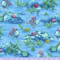 Colorful Fish All Over Blue Sea Floor, Silver Metallic, The Rainbow Fish, Marcus Fabrics (By 1/2 Yard)