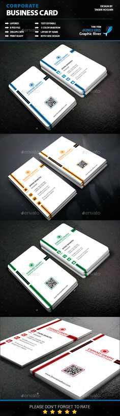 Buy Corporate Business Card by Md_TAKBIR on GraphicRiver. This is Corporate Business Card design. which is 300 dpi print-ready cmyk PSD files. Unique Business Cards, Corporate Business, Professional Business Cards, Business Card Design, Creative Business, Corporate Identity, Name Card Design, Cleaning Business Cards, Letterpress Business Cards