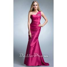 One Shoulder Mermaid Bridesmaid Gown A4295 at belloprom.com