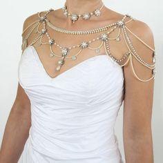 36 Sparkly Shoulder Necklace Designs for Beautiful Brides - Sortra