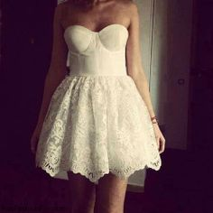 Super Cute Mini Lace Ball Gown Corest Prom Dresses, White Lace Mini Homecoming Dresses, Grduation Dr on Luulla White Strapless Dress, Bustier Dress, Dress Skirt, Lace Dress, Dress Up, White Dress, White Bustier, Gown Dress, Lace Ball Gowns
