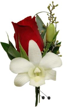 red rose white flower boutonniere - Google Search