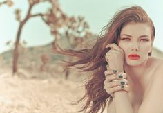 #nails, two-tone manicure, French mani, bright red lip, smoky copper red eyeshadow, #desert #beauty