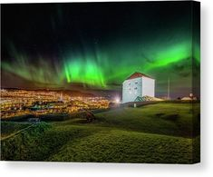 Beautiful Aurora Over Festningen in Trondheim Canvas Print / Canvas Art by Aziz Nasuti Great Photos, Cool Pictures, Colourful Buildings, Trondheim, Printing Companies, Got Print, France Travel, Stretched Canvas Prints, How To Be Outgoing