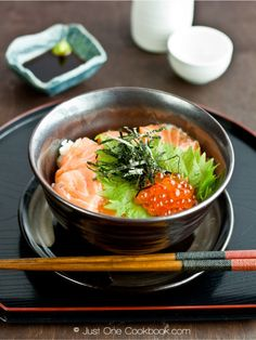 I am making myself so hungry right now.. Salmon & Ikura Don recipe | Easy Japanese Recipes at Just One Cookbook