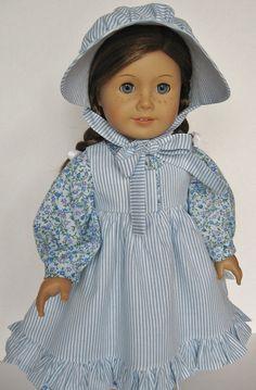 "1854 School Dress, Pinafore & Bonnet - 18"" American Girl Doll Kirsten"