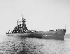 The battleship USS North Carolina (BB-55) enters New York Harbour after deployment in the Pacific threatre during World War II, 27th November 1945.